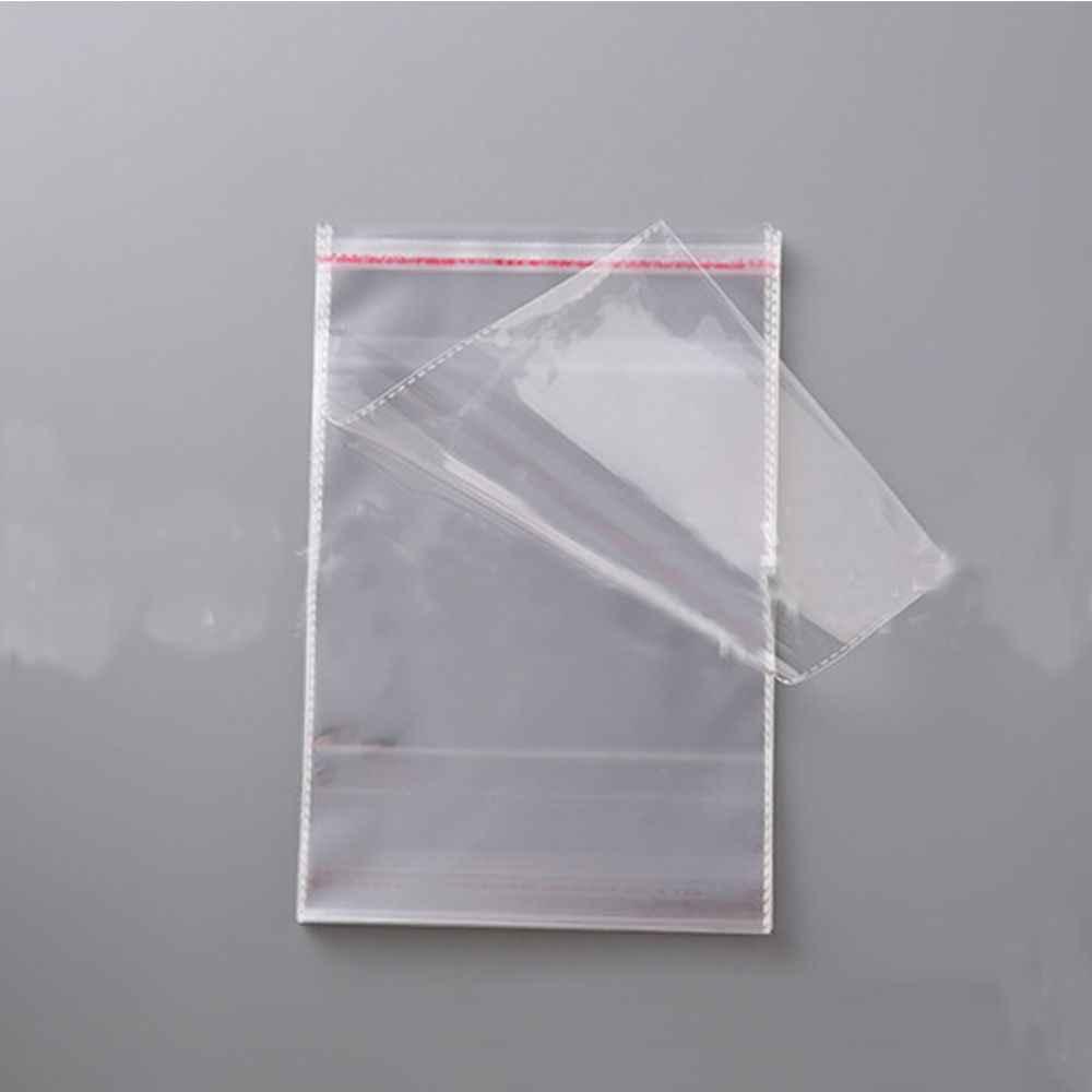 Grosir 100 Pcs Bening Diri Perekat Kantong Plastik Kemasan Perhiasan Transparan Karung Permen Paket 8 Cm X 12 Cm