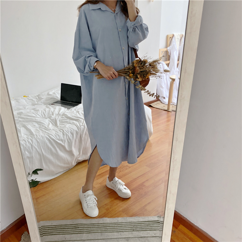 Vintage autumn Long Dress long Sleeve shirt turn down collar woman Lady loose shirt Casual Fashion maxi Dress cotton blue white 13