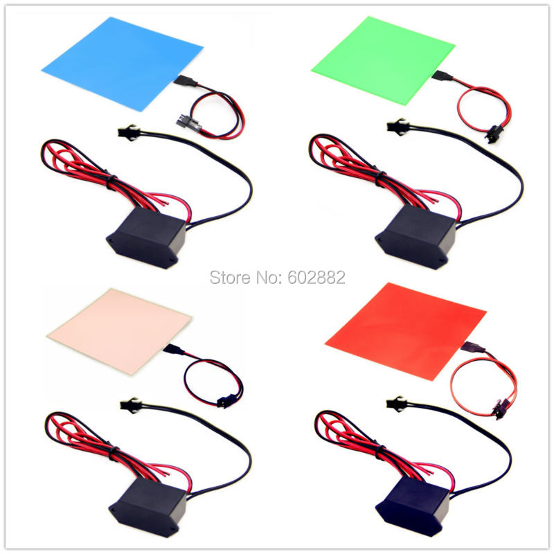 Led Panel 10x10cm EL Backlight, EL Panel + (7 Colors Available) + 12v Inverter Mix Order Available