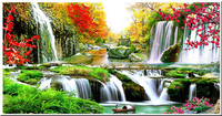 5d Diy Diamond Painting Cross Stitch Kit Diamond Embroidery Waterfall Mountain Landscape Picture Diamond Mosaic Wall