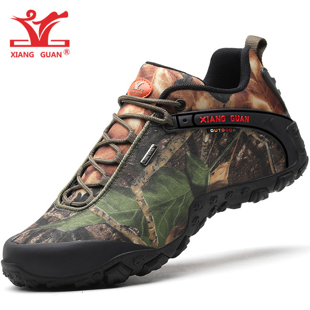 XIANG GUAN Men Hiking Shoes for Women Waterproof Trekking Boots Camouflage Sport Mountain Climbing Shoe Outdoor Walking Sneakers