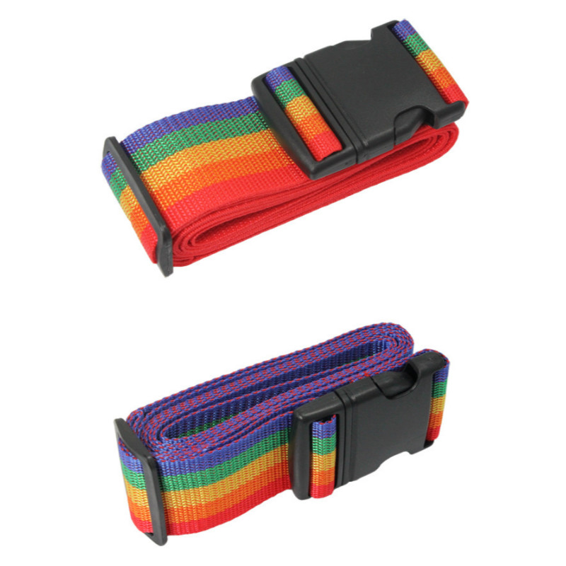 Luggage Strap Rainbow Color Baggage Packing Belt Adjustable Travel Suitcase Buckle Strap