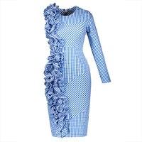 Young17 Summer Dress Women Blue 2017 Asymmetric Pleated Patchwork One Shoulder Zipper Knee Length Dress Summer