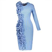 Young17 летнее платье Для женщин синий 2017 асимметричной плиссированной Лоскутная одно плечо на молнии Платье До Колена Лето Bodycon платье