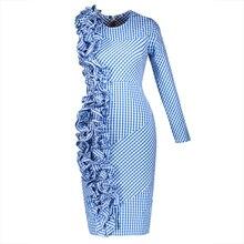 Young17 Summer Dress Women Blue 2017 Asymmetric Pleated Patchwork One-Shoulder Zipper Knee-Length Dress Summer Bodycon Dress