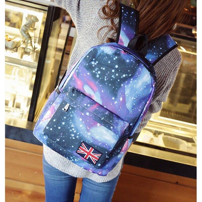 Многоцветный Для женщин рюкзак стильный Galaxy Star Universe пространство печати Mochila Обувь для девочек британский флаг Школы Backbag feminina