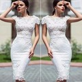 Hot Vestido De Festa White Short Cocktail Dresses Scoop Short Sleeve Lace Knee Length Homecoming Celebity Party Gowns 2017