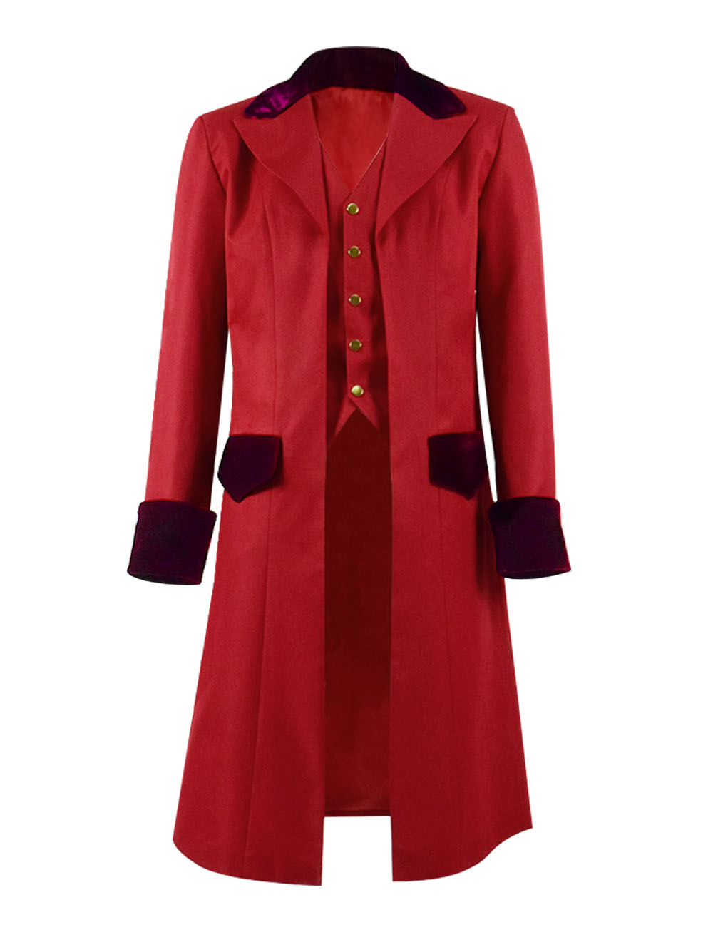 Steampunk Red Jacket  Fake Two Piece Jacket Men Women Party Blazer Red Coat Stage Trench Cosplay Costume