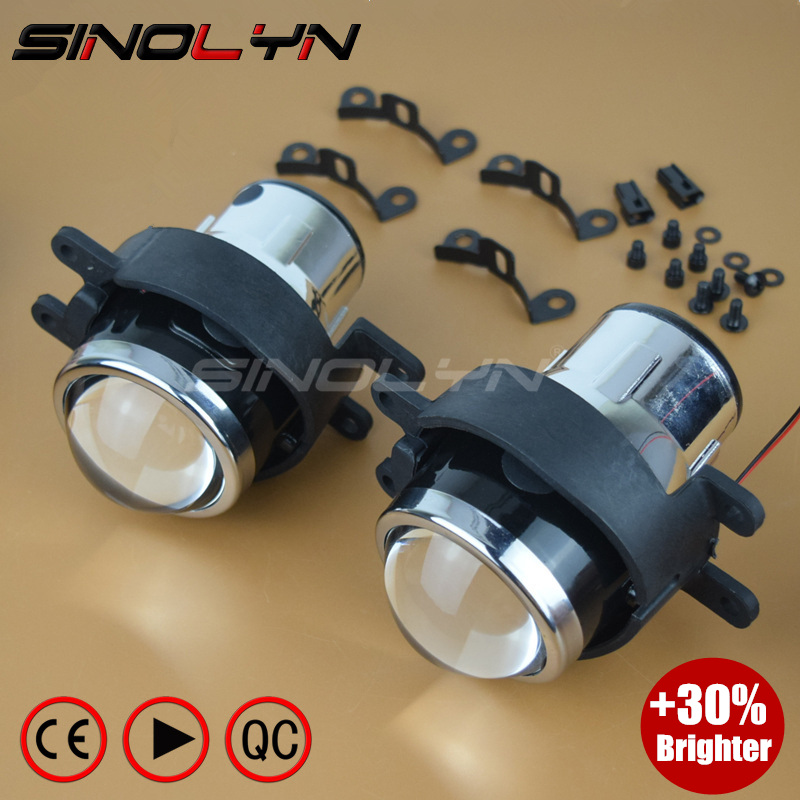 SINOLYN HID Bixenon Fog Lights Projector Lens Bifocal Driving Lamps Retrofit DIY For Toyota Corolla Camry/Lexus I3050 Waterproof