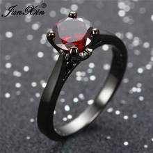 JUNXIN Antique Jewelry Red Black Gold Filled CZ Stone Ring Anel Anies Korean Rings For Women Wedding Party Gift Joyeria