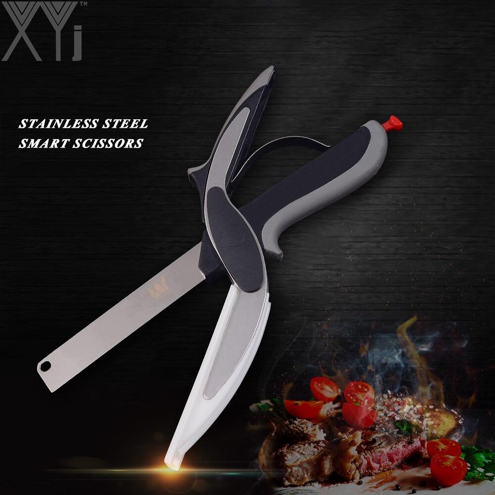 XYj Edelstahl Küche Schere 2 in 1 Schneidebrett Küche Chopper Clevere Obst Gemüse Schere Multifunktionale Cutter
