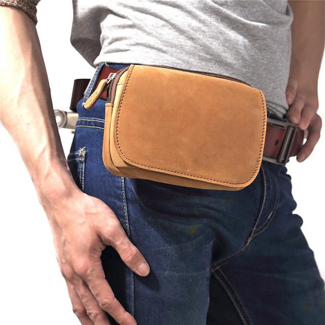 Frete grátis Mens simples moda couro de cavalo louco ombro mensageiro corpo cruz Satchel Fanny Pack cintura bolsa marrom S3369