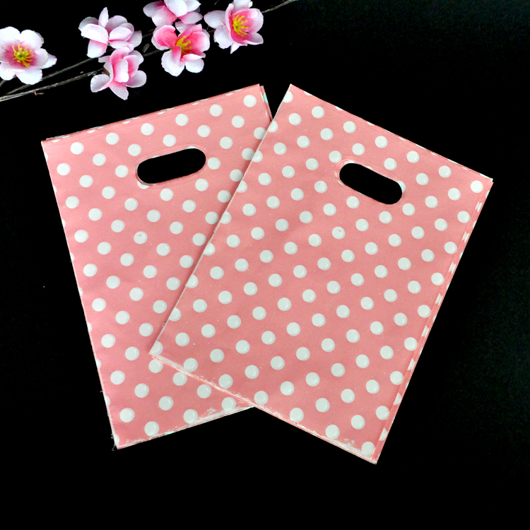 Wholesale 100pcs/lot Round Dots Pink Plastic Bag 15x20cm Wedding Jewelry Packaging Gift Bag Plastic Shopping Bags With Handles