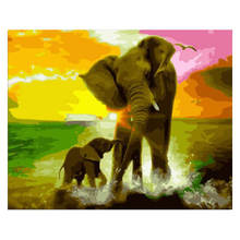 Decorative Canvas Painting By Numbers Animal,Diy Oil Elephant Take A Shower