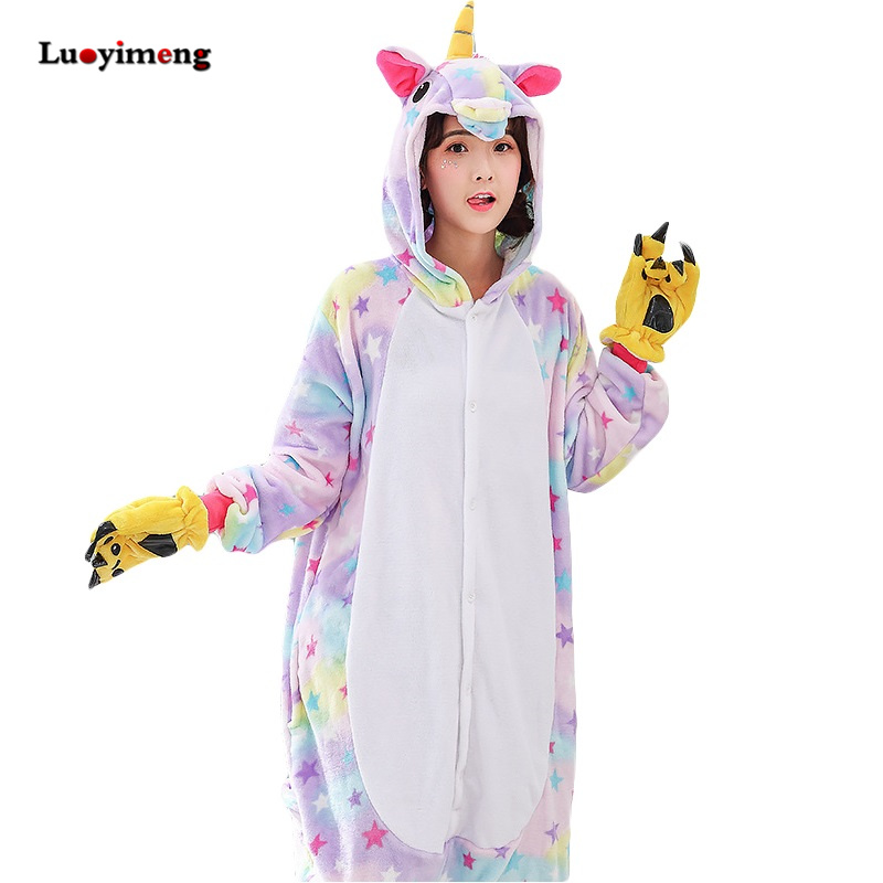Winter Unicorn   Pajama     Sets   Cartoon Sleepwear For Adult Women Pijama Flannel Animal Stitch Licorne   Pajama   Kigurumi Pyjamas Women