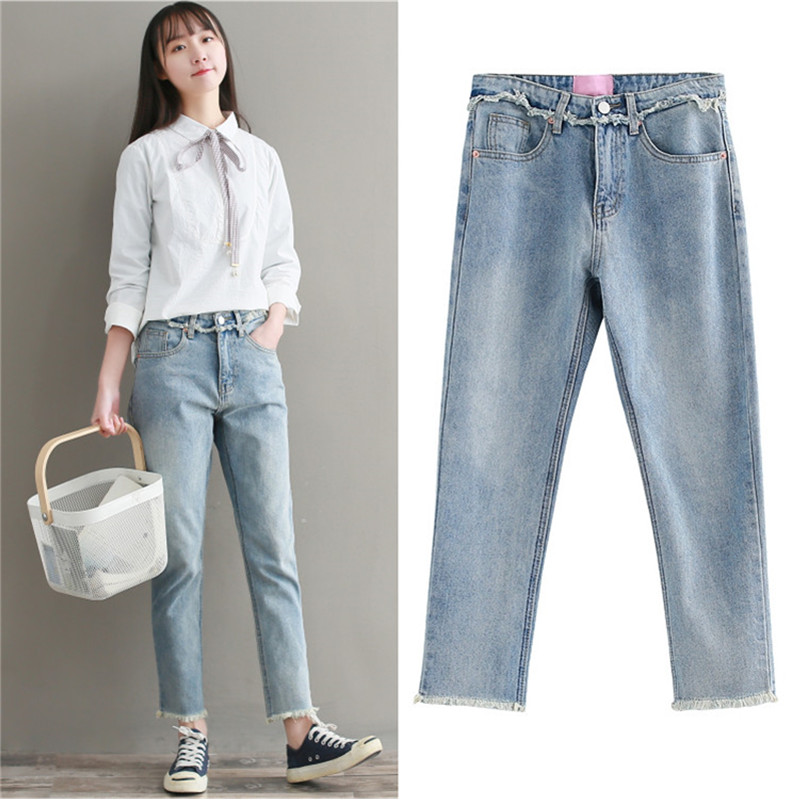 becf9ba2d52 New fashion Plus size women straight jeans pants Big yards loose BF wind  straight boyfriend jeans female woman pants 3XL-in Jeans from Women s  Clothing on ...