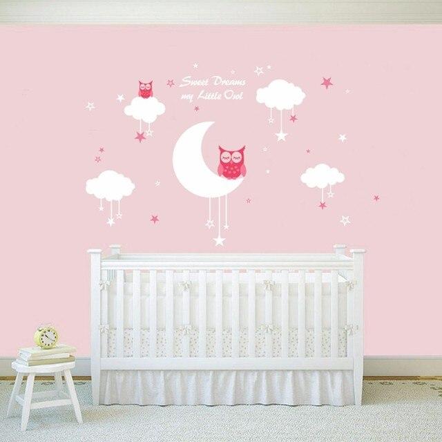 Nursery Wandtattoos Baby Eulen Für Süße Träume Mit Wolken Und Sterne Vinyl  Für Mädchen Und Jungen