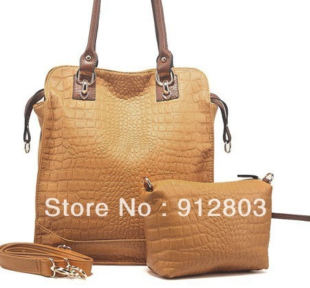 [ANYTIME]Wholesale Brand - Women's crocodile OL outfit handbag candy dumplings Leather tote bag shoulder bag - Free shipping