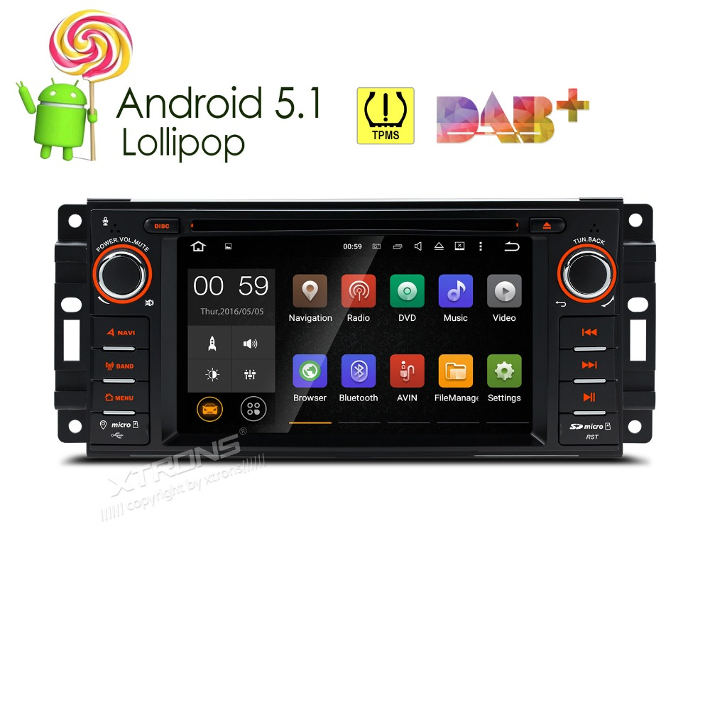 Xtrons 6 2 inch android 5 1 car dvd player 1 din gps dab tpms obd2 for