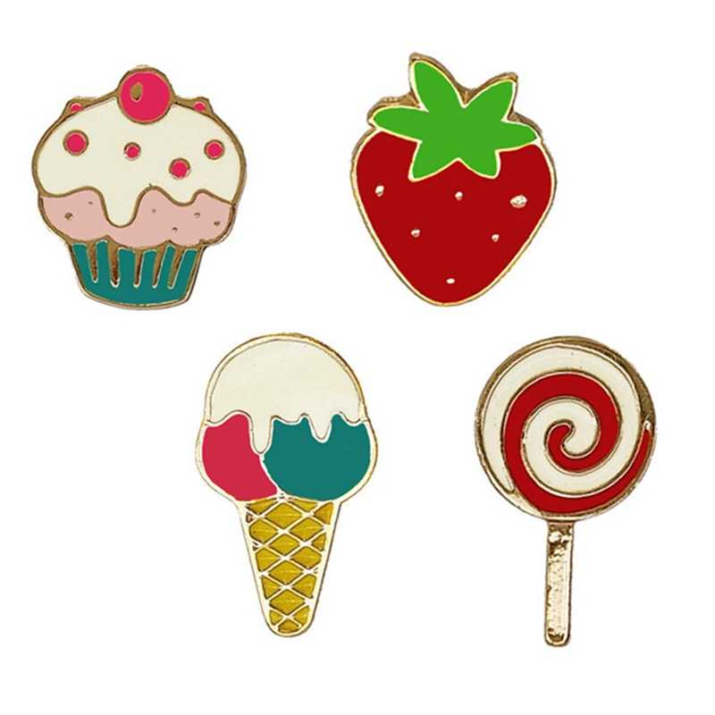 Ice Cream Cake Strawberry Metal Collar Drip Oil Brooch - Cute Enamel Brooches Pins Badge Pin Jeans Clothes Badge
