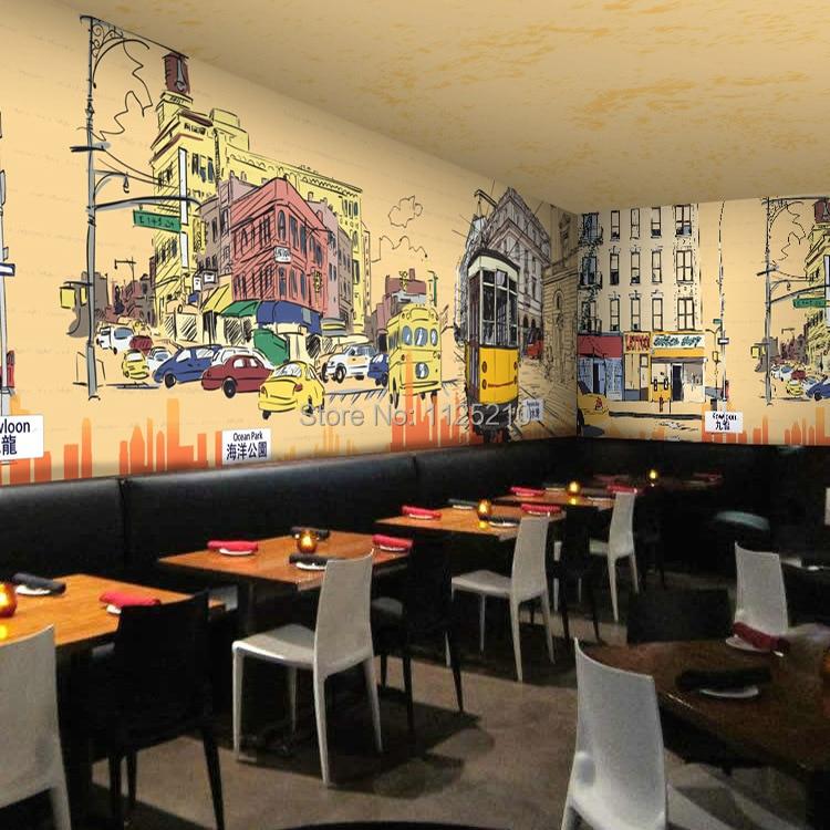 Popular commerce restaurant buy cheap commerce restaurant for Cafe wall mural