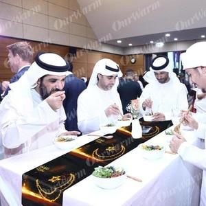 Image 5 - Ourwarm Gelukkig Eid Mubarak Decor Ramadan Kareem Kalender Tafelloper Blauw Zwart Glitter Gold Moslim Party Eid Ramadan Festival
