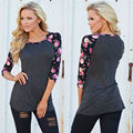 Fashion Womens 3/4 Sleeve Shirt Casual Floral  Loose Cotton Tops T Shirt