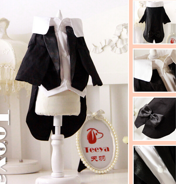 Pet Dog cat handsome wedding costume doggy cool fashion bowknot suit clothes puppy bride ...