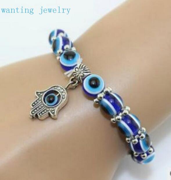 Hot Fashion Vintage Evil Eye Hand Of Fatima Hamsa Charm Bracelet Bangles Woman Jewelry 5pcs Lot Free Ship Good Lucky In Hologram Bracelets From