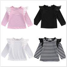 6a1252e2b Bebé Camiseta de manga larga de encaje Casual Tops de manga para Recién  Nacido niña bebé niños ropa chico ropa Otoño Invierno 0 .