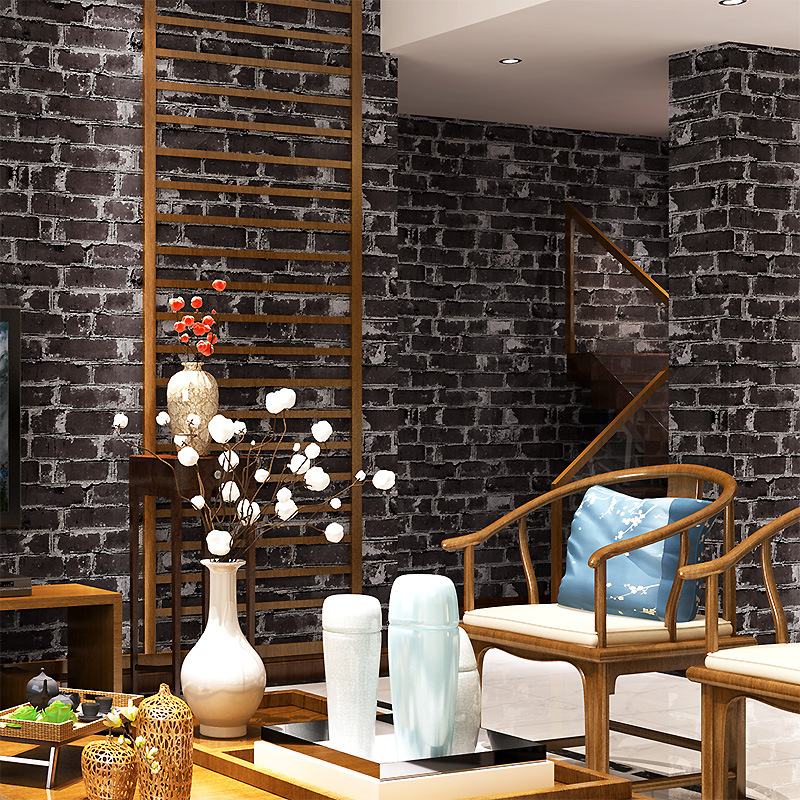 beibehang Chinese style retro black wallpapers antique culture brick restaurant clothing brick characteristics of wall paper culture of professionalism paper