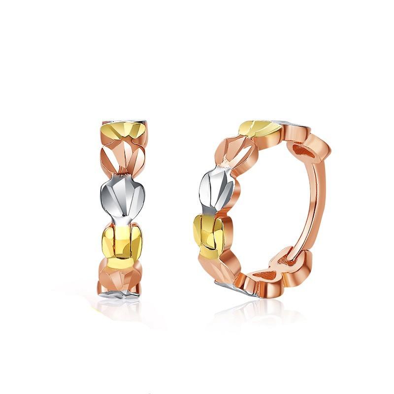Delicate 18K Genuine Solid Gold AU750 Rose/ White/ Tri-Tone Round Hoop Pierced Earrings for Women Female Girl Fine Jewelry Gift