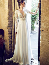 robe de mariage Sexy A Line Wedding Dresses Embroidery Full Sleeve Bridal Gowns Custom Made Transparent Lace Top Sale