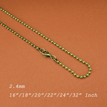 2.4mm Ball Beads Chains Metal Antique Bronze Color With Lobster Clasps Fashion Links DIY Findings Any Sizes