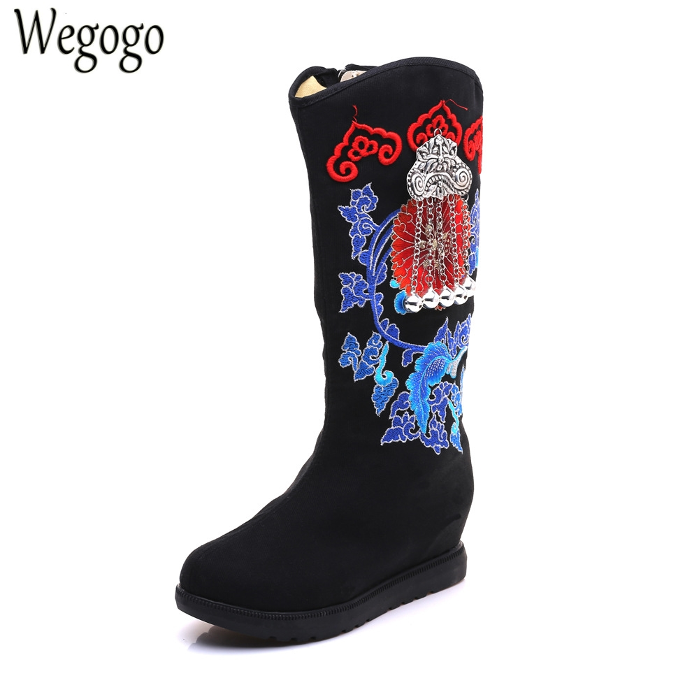 Winter Women Boots Floral Embroidery Old Beijing Canvas National Pendant Tassel Black Cloth Shoes Warm Booties Botas Mujer vintage pumps spring autumn old beijing embroidery cloth shoes fairy girl embroidered national han chinese women s shoes