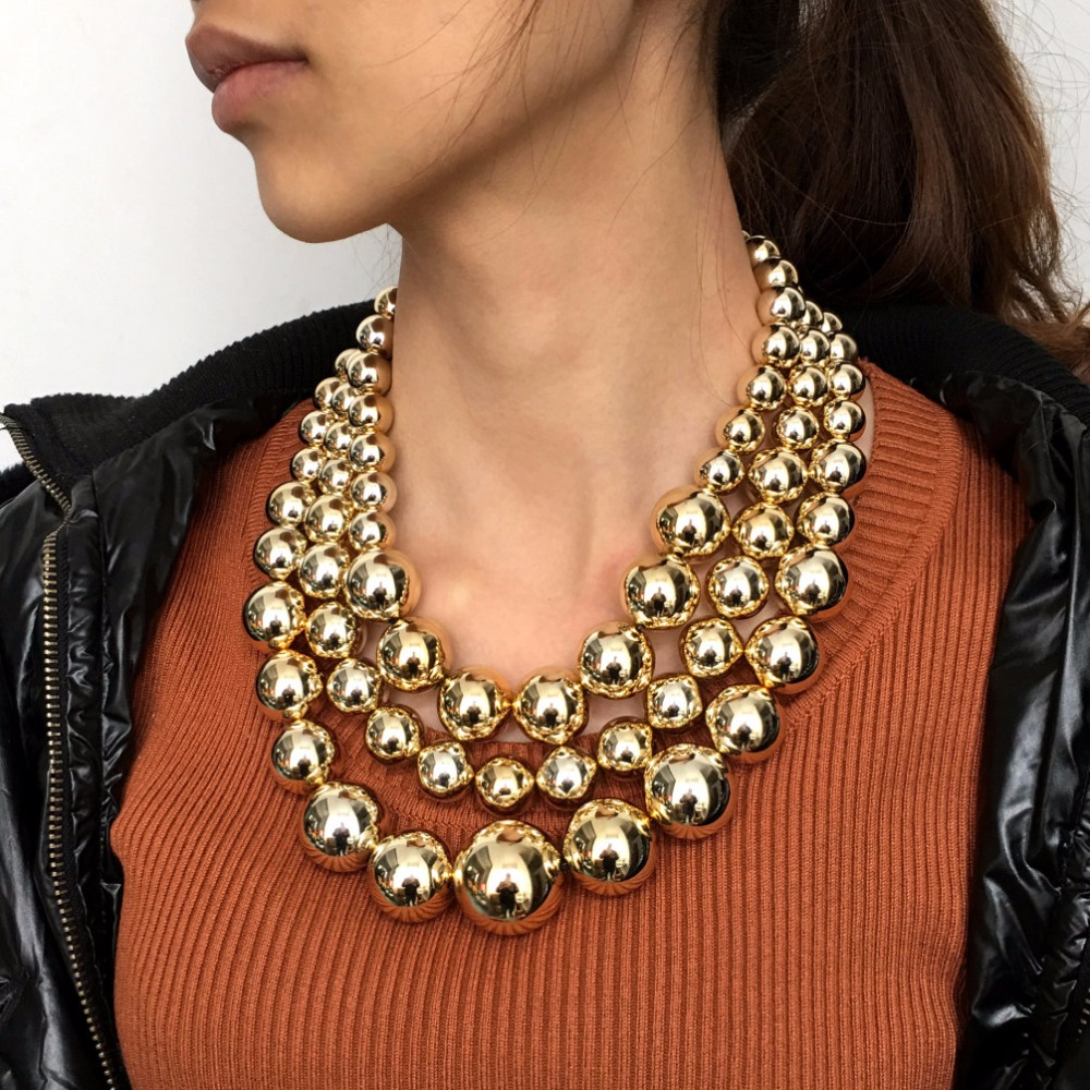 MANILAI Fashion Layered Chunky Beaded Chain Chokers Necklaces Women Gold Color Beads Statement Necklace Handmade Maxi Jewelry plus pearl beaded layered hem blouse