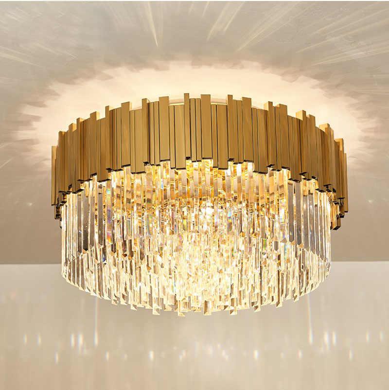 Phube светильник ing золотого цвета с украшением в виде кристаллов потолочный светильник роскошные современные Спальня светодиодный плафоны Lustres De Cristal дома Освещение в помещении настенные светильники