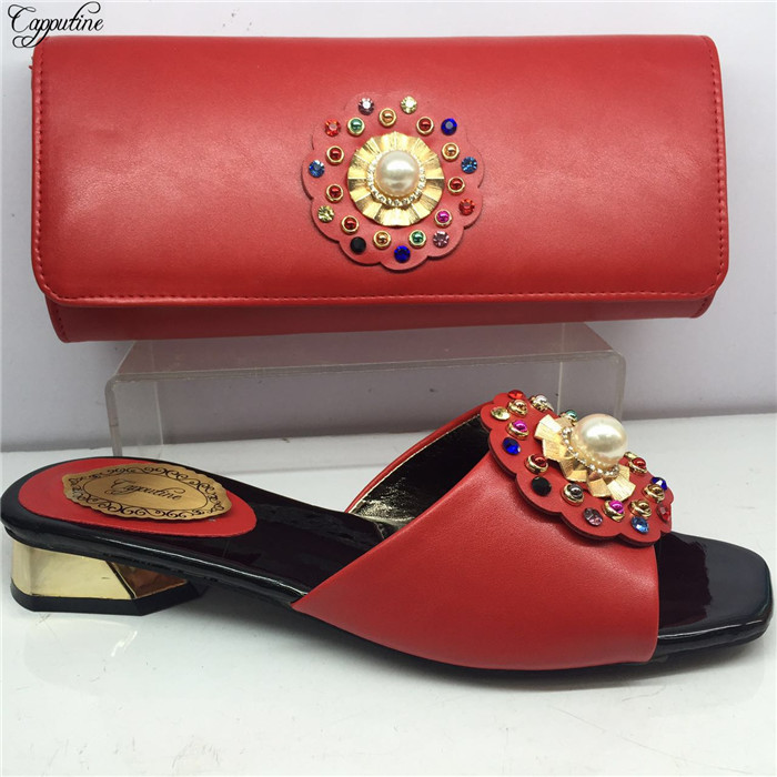 New coming red African medium heel slipper shoes and handbag set with pearls GY31 heel height 4cmNew coming red African medium heel slipper shoes and handbag set with pearls GY31 heel height 4cm