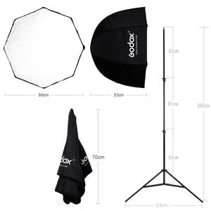 Image 3 - Godox 31.5in 80cm Octagon Umbrella Softbox 200cm Light stand Umbrella Hot Shoe Bracket Kit for Speedlite Flash