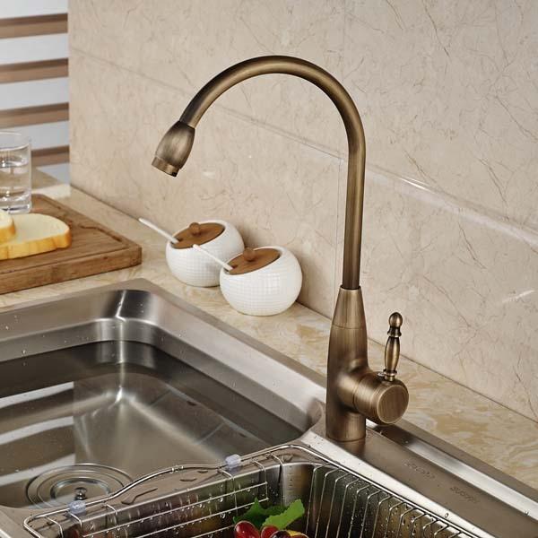 Swivel Spout Kitchen Faucet  Vessel Sink Mixer Tap Deck Mounted Antique Brass golden brass kitchen faucet swivel spout vessel sink mixer tap deck mounted