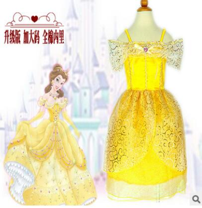 Beauty and the Beast 110-140cm kid child GirlPrincess belle Halloween Costume hot selling carinval Costume gift Dress Cosplay