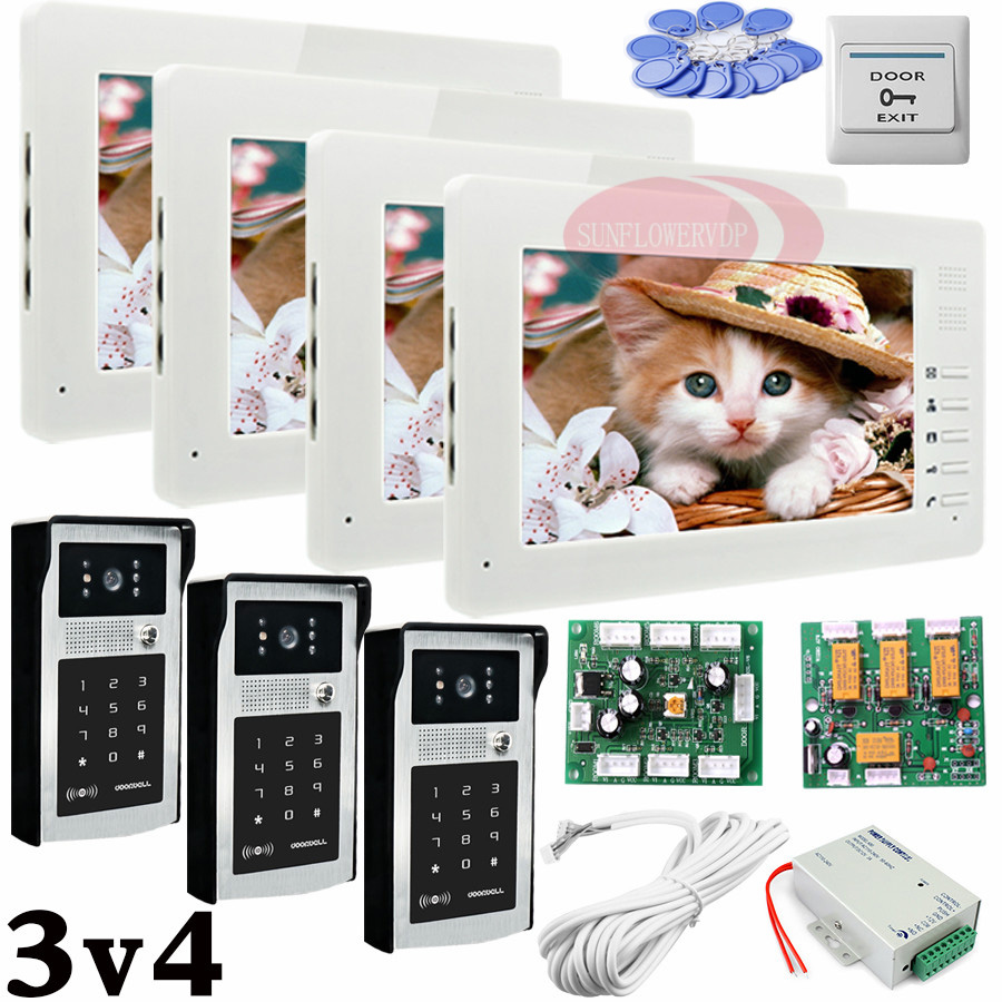 Apartment 3 Doors HD 700lines Cameras Password And RFID Cards Unlock 4 Color 7