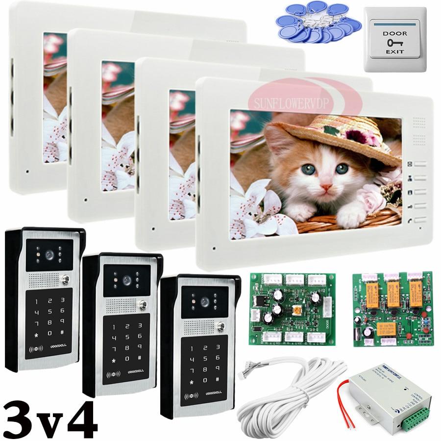 Apartment 3 Doors HD 700lines Cameras Password And RFID Cards Unlock 4 Color 7 Monitors Video Intercom System Bells Door phones my apartment