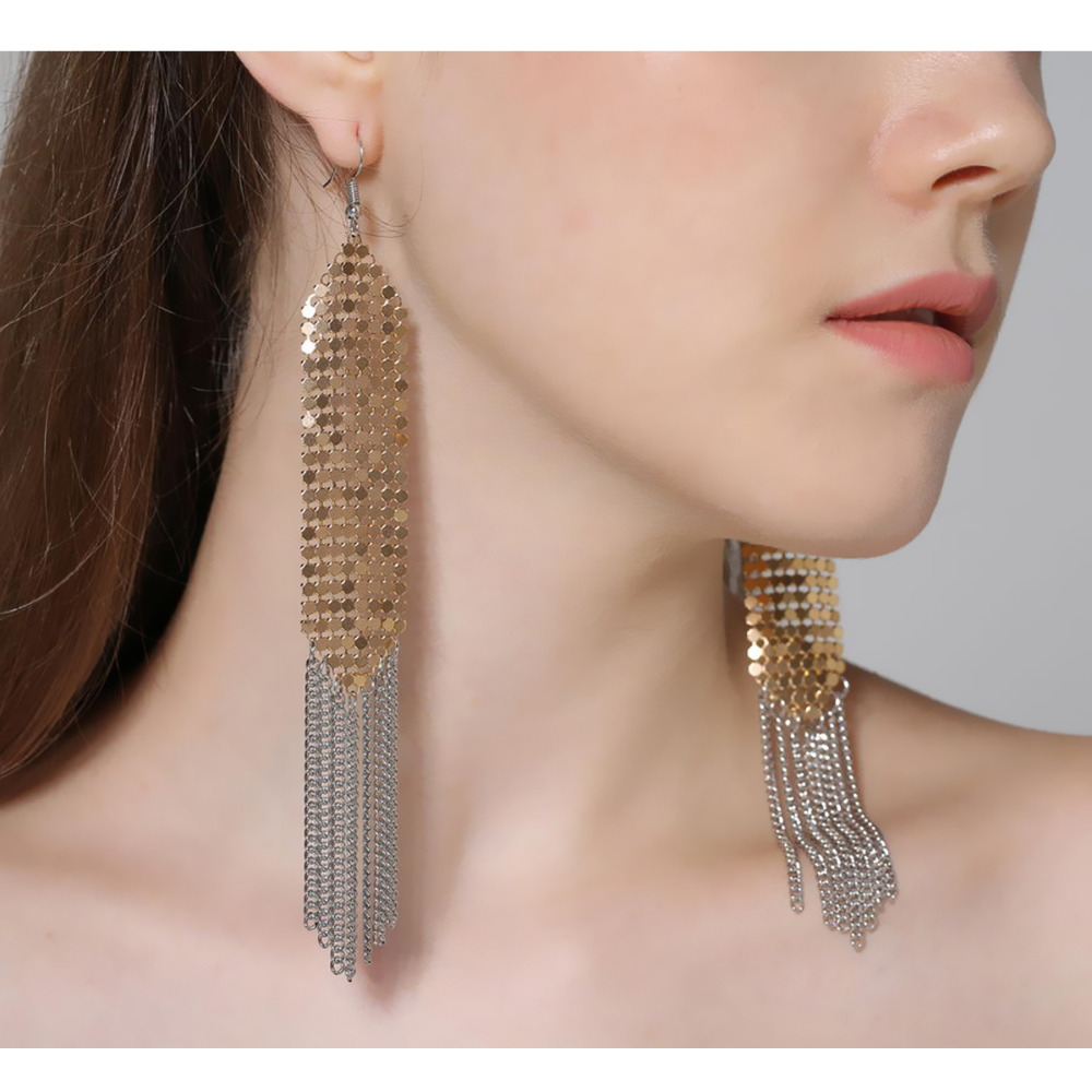 Trendy Aluminium Sequins Drop Dangle Earring Elegant Fine Chain Tassel Earring Three Colors Long Earring for Women Girls ...