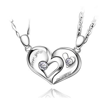 precio especial para grandes ofertas 2017 nueva temporada Cadena de plata corazón amor collares para parejas mujeres coreanas moda  emparejada suspensión colgantes modelo collier ras du cou