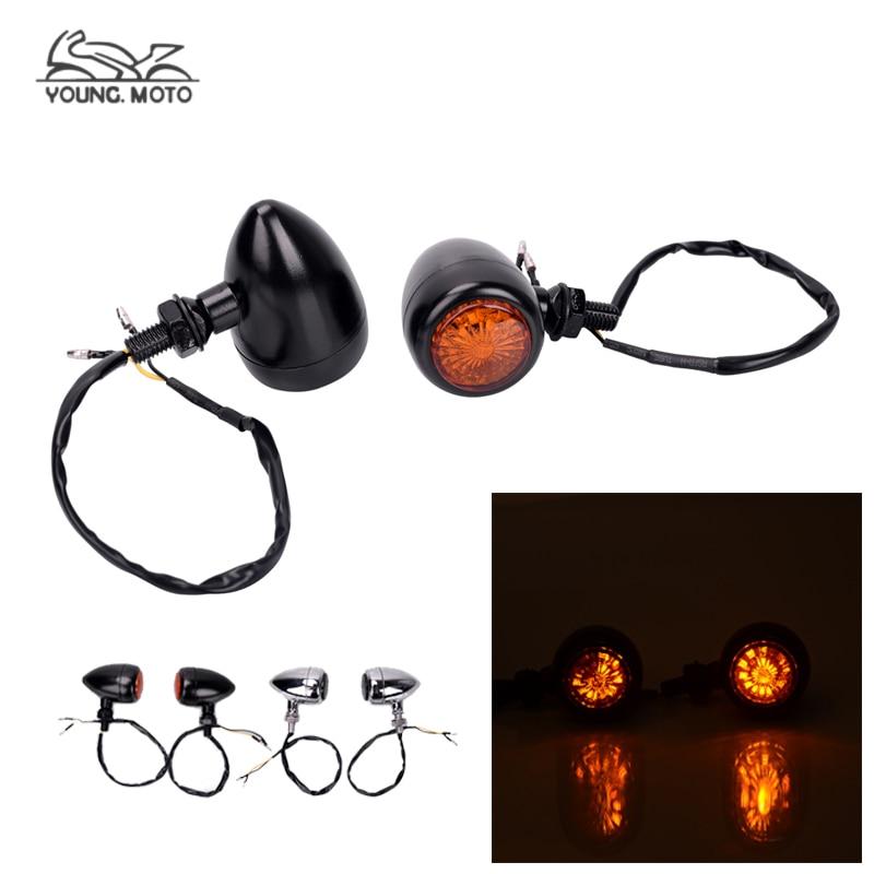 Motorcycle Bullet LED Turn Signals Amber Light Smoke Lens Turn Signal Indicator Lamp Blinker Flasher for Harley Honda Suzuki Yam