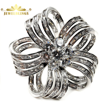 Edwardian Vintage Colorless Bow Ribbon Shape Flower Brooches Silver Tone Baguette Cut CZ Five Petal Flower Pin Wedding Accessory