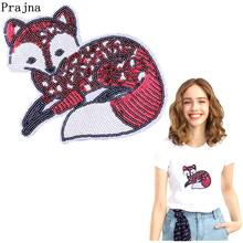 Prajna Red Fox Animal Patch Iron On Patches Clothes Sequined For Clothing DIY Cartoon Squirrel T-shirt With Sequin