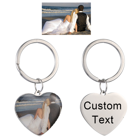 Personalized Custom Photo Text Keychain Best friends keyring Stainless Steel heart friendship lover jewelry gift for women girl Islamabad