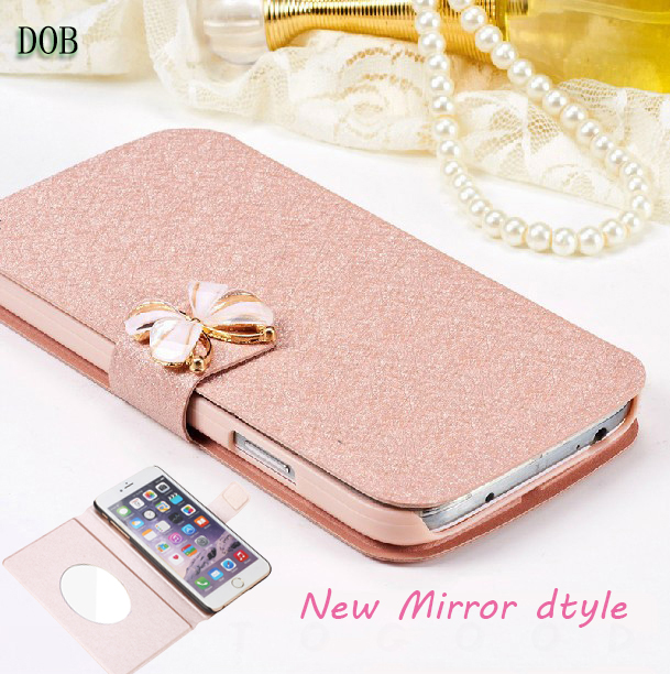 Butterfly For Meizu M3 Meilan 3 Case Luxury Flip PU Leather Case For Meizu M3 phone Silk Pattern cases bag with mirror